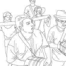 Dibujo para colorear batucada carnaval de Rio - Dibujos para Colorear y Pintar - Dibujos para colorear FIESTAS - Dibujos para colorear CARNAVAL - Dibujos para colorear CARNAVAL DE RIO