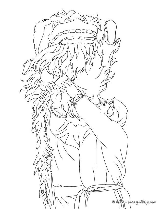 Dibujos para colorear danza del león - es.hellokids.com