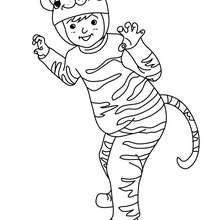 Dibujo para colorear DISFRAZ TIGRE - Dibujos para Colorear y Pintar - Dibujos para colorear FIESTAS - Dibujos para colorear CARNAVAL - Dibujos DISFRACES CARNAVAL para colorear - Dibujos DISFRAZ NIÑO para colorear