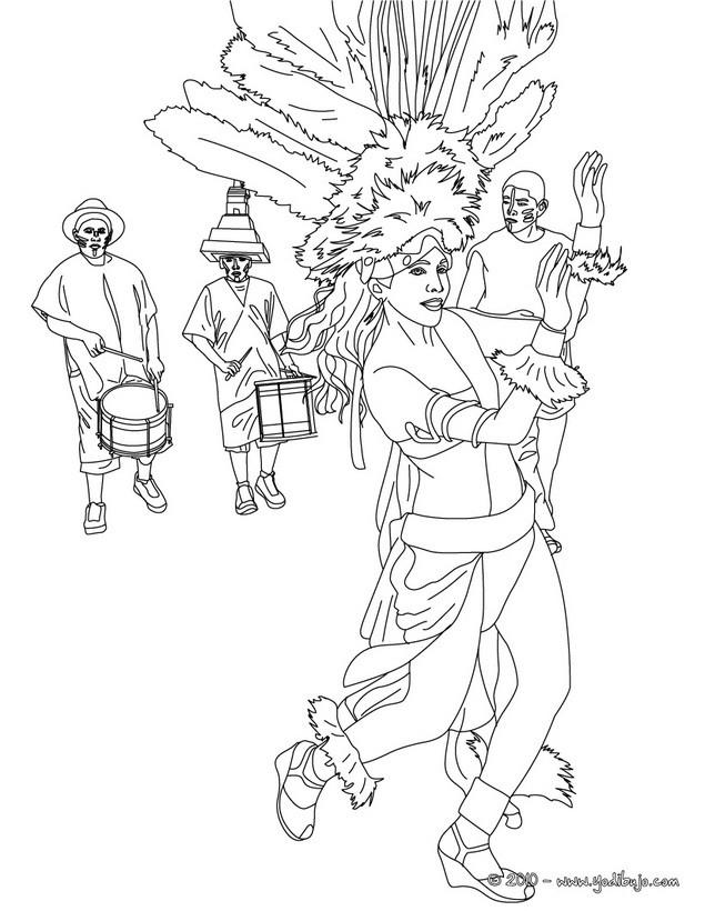 Dibujo para colorear : Desfile y tambores