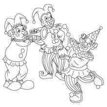 Dibujo para colorear grupo de PAYASOS - Dibujos para Colorear y Pintar - Dibujos para colorear FIESTAS - Dibujos para colorear CARNAVAL - Dibujo para colorear PAYASO