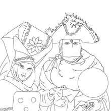 Dibujo para colorear famosos disfraces carnaval de venecia - Dibujos para Colorear y Pintar - Dibujos para colorear FIESTAS - Dibujos para colorear CARNAVAL - Dibujos CARNAVAL VENECIA para colorear