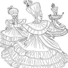 Dibujo para colorear grupo de bailarinas del carnaval de Rio - Dibujos para Colorear y Pintar - Dibujos para colorear FIESTAS - Dibujos para colorear CARNAVAL - Dibujos para colorear CARNAVAL DE RIO