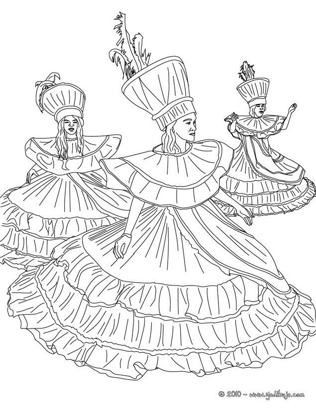Dibujos para colorear grupo de bailarinas brasileas  es