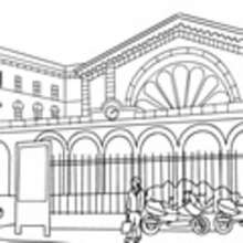 ferrocarril, Dibujos ESTACION DE TREN para colorear