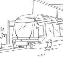 Dibujo para colorear autobus a la parada de autobus - Dibujos para Colorear y Pintar - Dibujos para colorear MEDIOS DE TRANSPORTE - Dibujos para colorear de AUTOBUSES