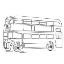 Dibujo para colorear autobus ingles con dos pisos - Dibujos para Colorear y Pintar - Dibujos para colorear MEDIOS DE TRANSPORTE - Dibujos para colorear de AUTOBUSES