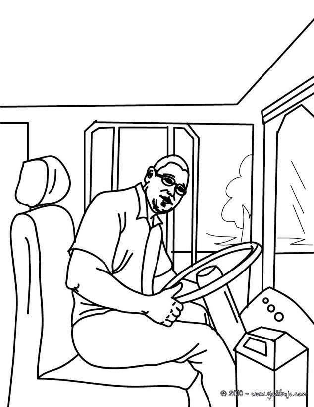 Dibujo para colorear : el conductor del autobus