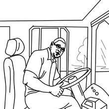 Dibujo para colorear el conductor del autobus - Dibujos para Colorear y Pintar - Dibujos para colorear MEDIOS DE TRANSPORTE - Dibujos para colorear de AUTOBUSES