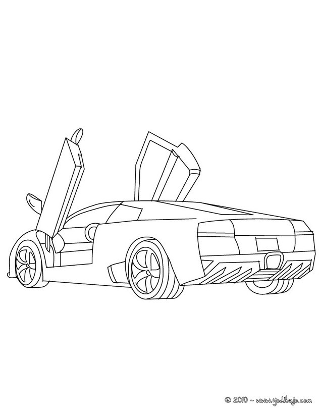 Dibujos para colorear lamborghini murcielago gratis - es.hellokids.com