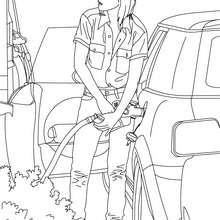 Dibujo para colorear un conductor en la gasolinera - Dibujos para Colorear y Pintar - Dibujos para colorear VEHICULOS - Dibujos para colorear COCHES - Dibujos para colorear CARROS