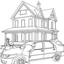 Dibujo para colorear un padre limpiando su coche - Dibujos para Colorear y Pintar - Dibujos para colorear VEHICULOS - Dibujos para colorear COCHES - Dibujos para colorear CARROS