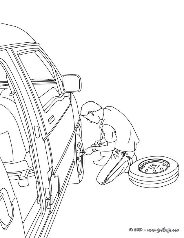 Dibujo para colorear : cambio de rueda del coche