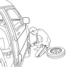 Dibujo para colorear cambio de rueda del coche - Dibujos para Colorear y Pintar - Dibujos para colorear VEHICULOS - Dibujos para colorear COCHES - Dibujos para colorear CARROS