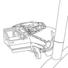 Dibujo de un accidente de coche para colorear - Dibujos para Colorear y Pintar - Dibujos para colorear VEHICULOS - Dibujos para colorear COCHES - Dibujos para colorear CARROS