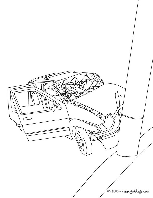 Dibujo para colorear : un accidente de coche