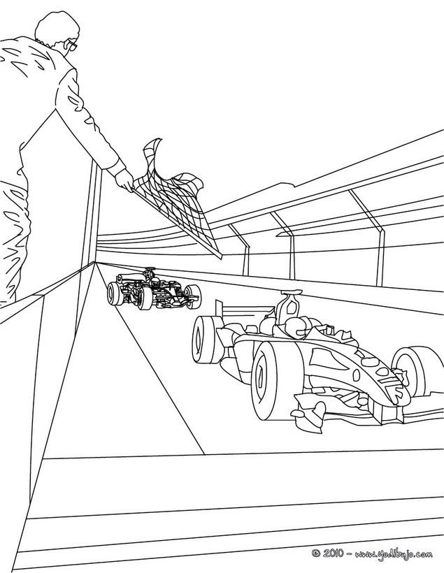 Dibujos para colorear formula 1 con mecanicos - es.hellokids.com