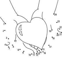 Hoja para imprimir : Corazón en las manos
