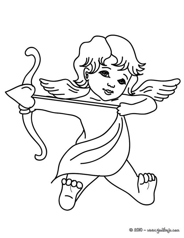 Dibujos para colorear cúpido disparando amor - es.hellokids.com