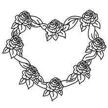 Dibujo para colorear : Corona de rosas en forma de corazon
