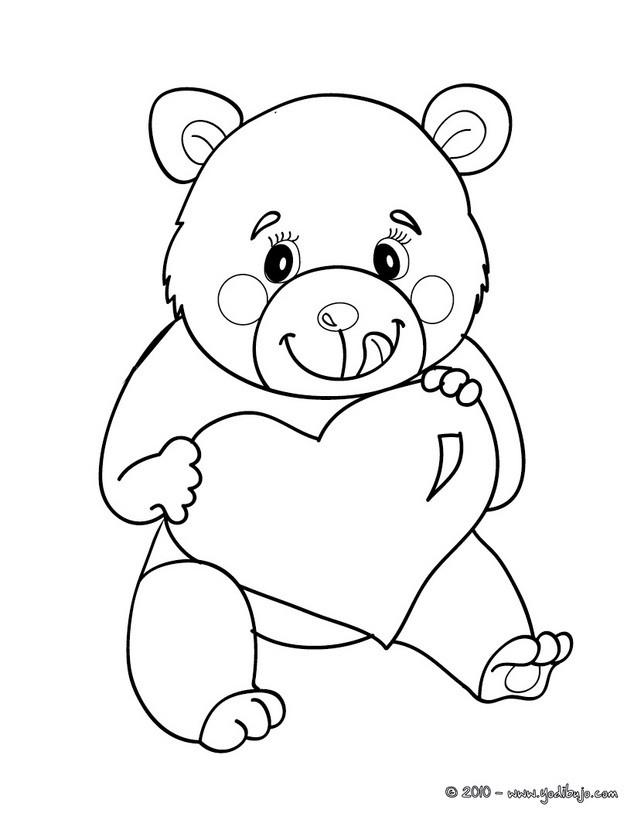 Dibujos para colorear oso enamorado  eshellokidscom