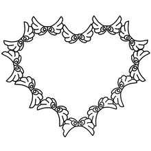 Dibujo para colorear : Corona de corazones voladores