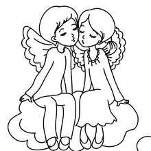 Dibujo para colorear : Querubines enamorados
