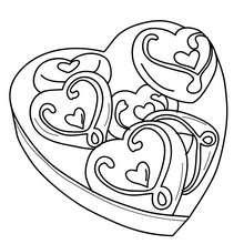 Dibujo para colorear CAJA DE CHOCOLATE CORAZON - Dibujos para Colorear y Pintar - Dibujos para colorear FIESTAS - Dibujos para colorear SAN VALENTIN - Dibujos de SAN VALENTIN para colorear e imprimir