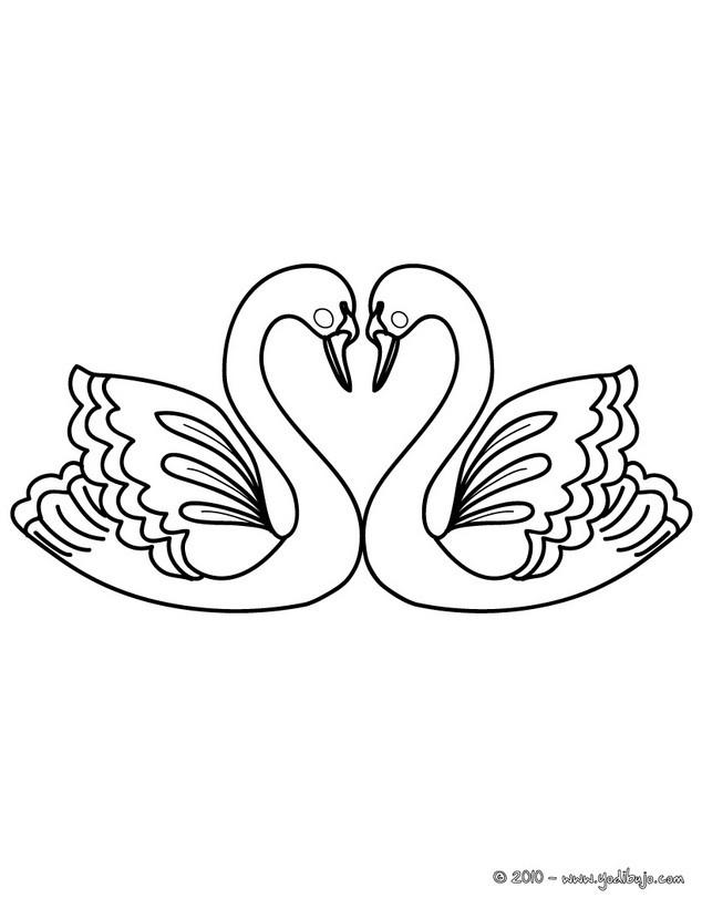 Dibujos para colorear corazn de cisnes  eshellokidscom