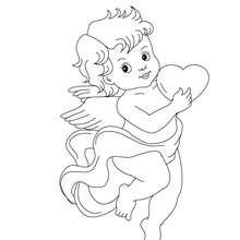Dibujo para colorear : Cúpido con un corazón