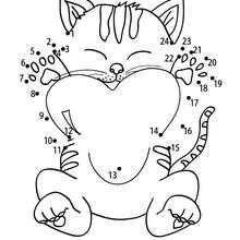 Hoja para imprimir : Gato con corazón