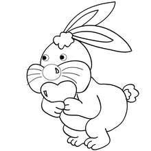 Dibujo para colorear : Conejo y corazón