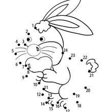 Hoja para imprimir : Conejo con un corazón