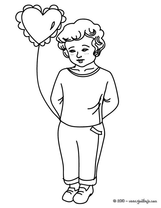 Dibujos para colorear globo en forma de corazon - es.hellokids.com