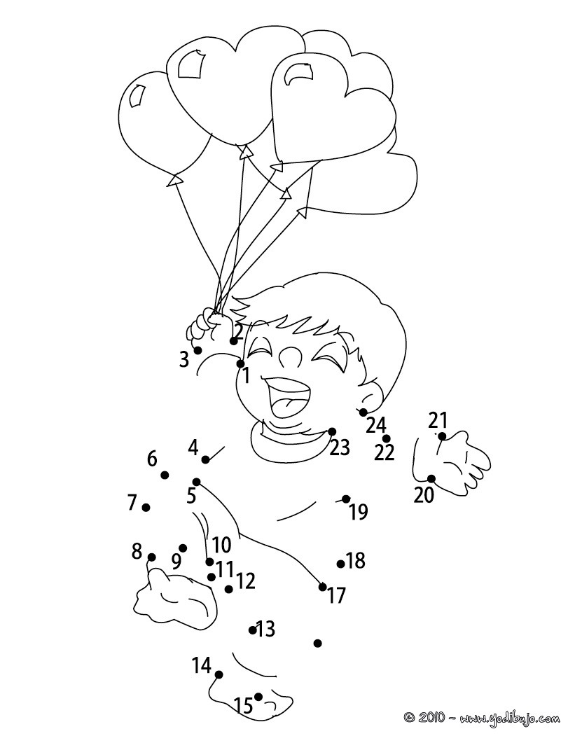 Juegos de puntos SAN VALENTIN - 30 juegos imprimibles para niños