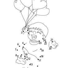 Hoja para imprimir : Niño con globos corazones