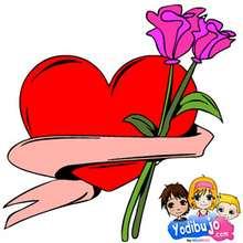 Puzzle en línea : Flores y Corazón rojo