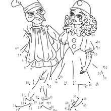 Hoja para imprimir : Disfraces Colombina y Arlequin unir puntos