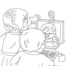 Dibujo para colorear : Abuela con su webcam