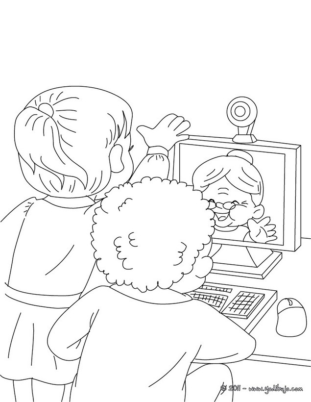 Dibujos Para Colorear Abuela Con Su Webcam Es Hellokids Com