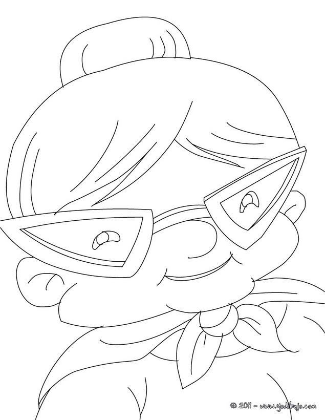 dibujos para colorear abuela con gafas excentricas