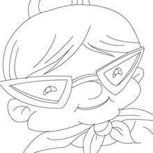 Dibujo para colorear : Abuela con gafas excentricas