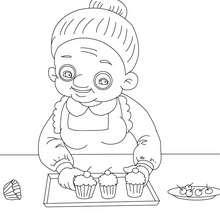 Dibujo para colorear abuela cocinera - Dibujos para Colorear y Pintar - Dibujos para colorear FIESTAS - Dibujos para colorear DIA DE LA ABUELA