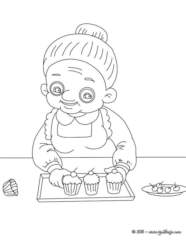 Dibujos para colorear abuela cocinera - es.hellokids.com