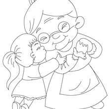 Dibujo para colorear abuela con su nieta - Dibujos para Colorear y Pintar - Dibujos para colorear FIESTAS - Dibujos para colorear DIA DE LA ABUELA