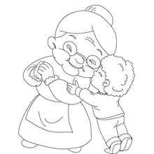 Dibujo de abuela con su nieto para colorear - Dibujos para Colorear y Pintar - Dibujos para colorear FIESTAS - Dibujos para colorear DIA DE LA ABUELA