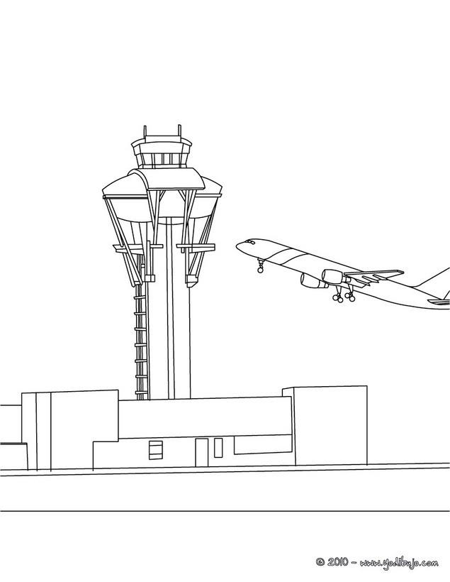 Dibujos Para Colorear Torre De Control Del Aeropuerto Eshellokids