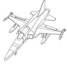 Dibujo para colorear avion con misiles - Dibujos para Colorear y Pintar - Dibujos para colorear MEDIOS DE TRANSPORTE - Dibujos para colorear AVION