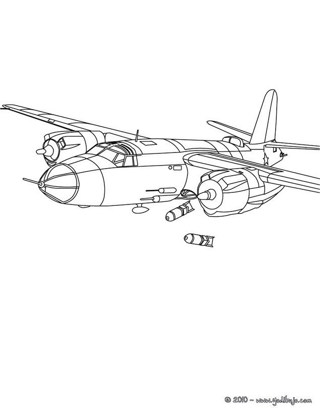 Dibujos para colorear avion con 2 helices - es.hellokids.com