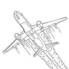 Dibujo para colorear avion bi motores - Dibujos para Colorear y Pintar - Dibujos para colorear MEDIOS DE TRANSPORTE - Dibujos para colorear AVION